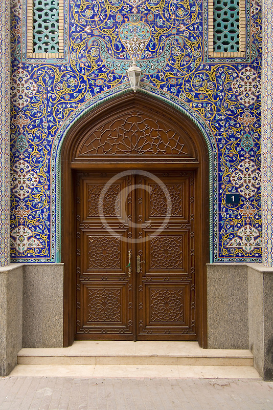 United Arab Emirates, Dubai, Blue tiled doorway, Iranian Mosque, Bur Dubai