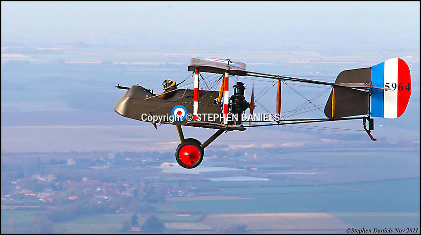 PHOTO  By ©Stephen Daniels  06/11/2011<br /> Pilot and owner Stewart Smith at the start of his tribute flight to France. Wickenby Aerodrome, Wickenby, Lincolnshire.  Plane is the only fling De Havilland Byplane DH.2