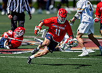 1 May 2021: Stony Brook University Seawolves Faceoff Specialist Austin Deskewicz, a Junior from Ballston Spa, NY, in action against the University of Vermont Catamounts at Virtue Field in Burlington, Vermont. The Cats edged out the Seawolves 14-13 with less than one second to play in their America East Men's Lacrosse matchup. Mandatory Credit: Ed Wolfstein Photo *** RAW (NEF) Image File Available ***