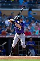 Adam Duvall (30) of the Louisville Bats at bat against the Durham Bulls at Durham Bulls Athletic Park on August 9, 2015 in Durham, North Carolina.  The Bulls defeated the Bats 9-0.  (Brian Westerholt/Four Seam Images)