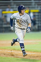 Riley Unroe (1) of the Princeton Rays hustles down the first base line against the Burlington Royals at Burlington Athletic Park on July 9, 2014 in Burlington, North Carolina.  The Rays defeated the Royals 3-0.  (Brian Westerholt/Four Seam Images)