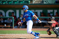 Tyler Adkison (37) of the Ogden Raptors bats against the Idaho Falls Chukars in Pioneer League action at Lindquist Field on July 2, 2017 in Ogden, Utah. Ogden defeated Idaho Falls 6-5. (Stephen Smith/Four Seam Images)