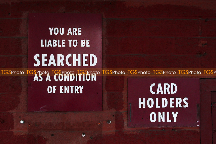 Signage for spectators ahead of West Ham United Ladies vs Tottenham Hotspur Ladies, FA Women's Premier League Football at the Boleyn Ground, Upton Park