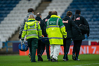 20th February 2021; The John Smiths Stadium, Huddersfield, Yorkshire, England; English Football League Championship Football, Huddersfield Town versus Swansea City; Jordan Morris of Swansea City goes down injured and needs to be stretchered off