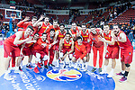 Spain team celebrating the 4th victory during European Qualifiers to China 2019 World Cup match between Spain and Montenegro at Principe Felipe Stadium in Zaragoza , Spain. February 22, 2018. (ALTERPHOTOS/Borja B.Hojas)