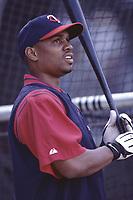Jacque Jones of the Minnesota Twins during a 2001 season MLB game at Angel Stadium in Anaheim, California. (Larry Goren/Four Seam Images)