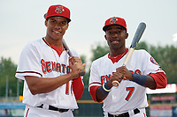Harrisburg Senators Juan Soto (10) and Daniel Johnson (7) pose for a photo before a game against the New Hampshire Fisher Cats on May 12, 2018 at FNB Field in Harrisburg, Pennsylvania.  The game was postponed due to weather.  (Mike Janes/Four Seam Images)