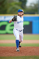 Dunedin Blue Jays relief pitcher Kirby Snead (18) delivers a pitch during a game against the Clearwater Threshers on April 8, 2018 at Dunedin Stadium in Dunedin, Florida.  Dunedin defeated Clearwater 4-3.  (Mike Janes/Four Seam Images)