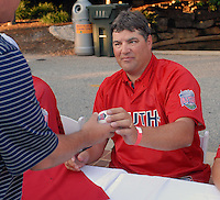 Rome Braves coach Jim Czajkowski signs an autograph at the 2010 South Atlantic League All-Star Game welcome party and festivities Monday night June 21, 2010, at the Wyche Pavilion along the Reedy River in Greenville, S.C. Photo by: Tom Priddy/Four Seam Images