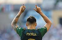 ST PAUL, MN - JULY 24: Felipe Mora #9 of the Portland Timbers celebrates his goal during a game between Portland Timbers and Minnesota United FC at Allianz Field on July 24, 2021 in St Paul, Minnesota.