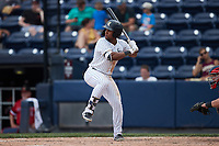 Frederick Cuevas (12) of the Scranton/Wilkes-Barre RailRiders at bat against the Rochester Red Wings at PNC Field on July 25, 2021 in Moosic, Pennsylvania. (Brian Westerholt/Four Seam Images)