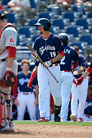 Reading Fightin Phils second baseman Brandon Bednar (19) walks to the plate during the first game of a doubleheader against the Portland Sea Dogs on May 15, 2018 at FirstEnergy Stadium in Reading, Pennsylvania.  Portland defeated Reading 8-4.  (Mike Janes/Four Seam Images)