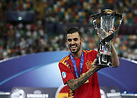 Spain's Dani Ceballos holds the trophy at the end of the Uefa Under 21 Championship 2019 football final match between Spain and Germany at Udine's Friuli stadium, Italy, June 30, 2019. Spain won 2-1.<br /> UPDATE IMAGES PRESS/Isabella Bonotto