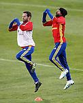 Spain's Juan Mata (l) and Jordi Alba during training session. March 21,2016. (ALTERPHOTOS/Acero)