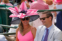 30th April 2021; Kentucky, USA;  A couple enjoying themselves   during Oaks Day on April 30th, 2021 at Church Hill Downs in Louisville, KT.