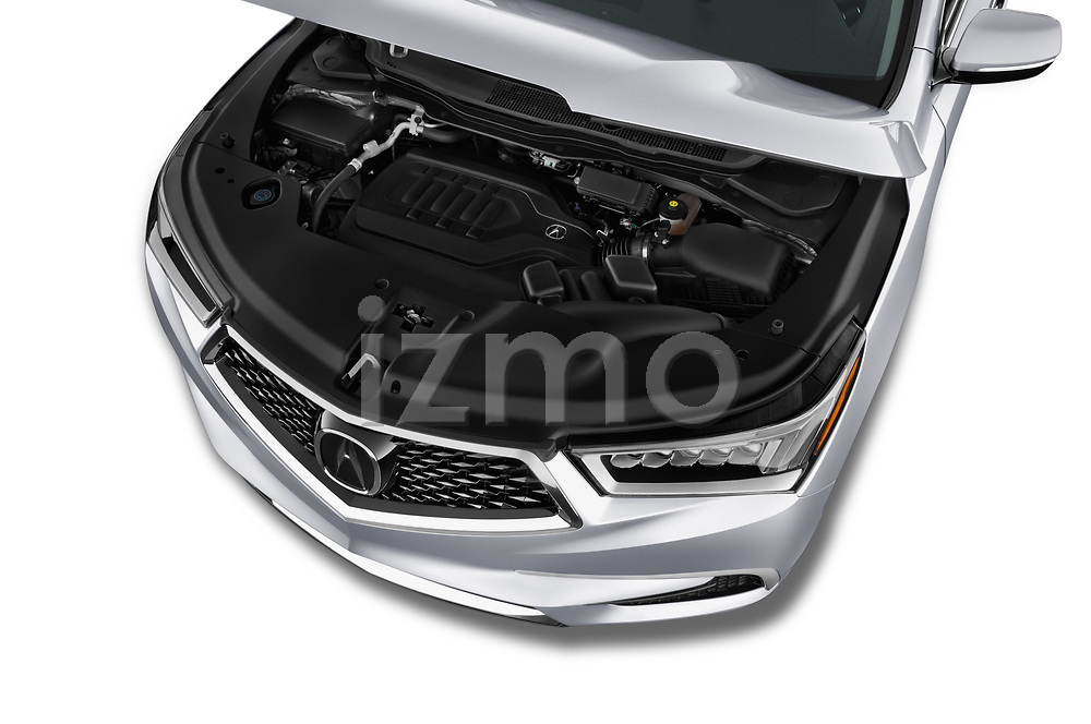 Car stock 2017 Acura MDX SH-AWD Advance & Entertainment Package 5 Door SUV engine high angle detail view