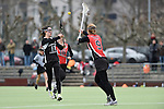 Frankfurt am Main, Germany, March 14: During the Damen 1. Bundesliga West Lacrosse match between SC 1880 Frankfurt and Duesseldorfer Hirschkuehe on March 14, 2015 at the SC 1880 Frankfurt in Frankfurt am Main, Germany. Final score 20-13 (13-8). (Photo by Dirk Markgraf / www.265-images.com) *** Local caption *** Jacquline Mancher #11 of Duesseldorfer Hirschkuehe, Jaana Mattwig #9 of SC 1880 Frankfurt