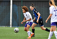 Kassandra Missipo (12 Anderlecht) pictured with Frieke Temmerman (17 Brugge) during a female soccer game between Club Brugge Dames YLA and RSC Anderlecht Ladies on the fifth matchday of the 2020 - 2021 season of Belgian Scooore Womens Super League , sunday 18 October 2020  in Brugge , Belgium . PHOTO SPORTPIX.BE | SPP | DAVID CATRY
