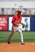Palm Beach Cardinals shortstop Oscar Mercado (21) during a game against the Charlotte Stone Crabs on April 10, 2016 at Charlotte Sports Park in Port Charlotte, Florida.  Palm Beach defeated Charlotte 4-1.  (Mike Janes/Four Seam Images)