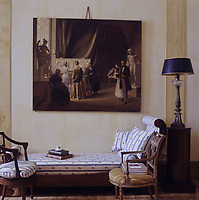 Above the chaise-longue in the atelier living room hangs Christian Bang's unframed painting of Thorvaldsen's studio