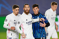 16th March 2021; Madrid, Spain;  Sergio Ramos, Fede Valverde of Real Madrid and Matteo Pessina of Atalanta during the Champions League match, round of 16, between Real Madrid and Atalanta played at Alfredo Di Stefano Stadium