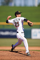 Mesa Solar Sox pitcher James Buckelew (25), of the Miami Marlins organization, during a game against the Scottsdale Scorpions on October 21, 2016 at Sloan Park in Mesa, Arizona.  Mesa defeated Scottsdale 4-3.  (Mike Janes/Four Seam Images)