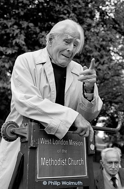 Lord Donald Soper, Methodist and Christian Socialist, at Speakers Corner, Hyde Park,London, where he spoke regularly from 1926 until his death in 1998; 1994
