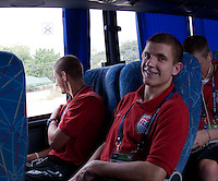 Tyler Polak on the bus. US Men's National Team Under 17 defeated Malawi 1-0 in the second game of the FIFA 2009 Under-17 World Cup at Sani Abacha Stadium in Kano, Nigeria on October 29, 2009.