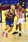 Turkish Airlines Euroleague 2020/2021. <br /> Regular Season-Round 10.<br /> FC Barcelona vs Crvena Zvezda MTS Belgrade: 76-65.<br /> Nick Calathes vs Langston Hall.