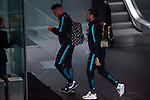 Neymar and Dani Alves arrives at the team hotel the day before UEFA Champions League match between Atletico de Madrid and FC Barcelona at Hotel Eurostars in Madrid. April 13, 2016. (ALTERPHOTOS/Borja B.Hojas)