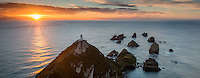 Sunrise at Nugget Point with lighthouse, Catlins, Southland, South Island, New Zealand, NZ