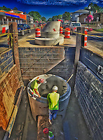 New storm drains installed below State Street at Northstar Cafe.