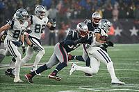 FOXBOROUGH, MA - NOVEMBER 24: New England Patriots Linebacker Jamie Collins #58 tackles Dallas Cowboys Runningback Tony Pollard #20 during a game between Dallas Cowboys and New England Patriots at Gillettes on November 24, 2019 in Foxborough, Massachusetts.