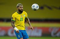 4th June 2021; Beira-Rio Stadium, Porto Alegre, Brazil; Qatar 2022 qualifiers; Brazil versus Ecuador; Gabriel Barbosa of Brazil looks to control the high ball