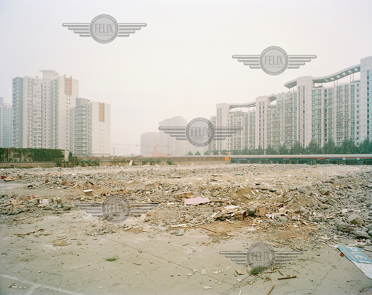A recently demolished building in Wangjing, Chaoyang district, soon to become another high-rise construction site. This area is the largest residential district in the city is also becoming an important business centre.