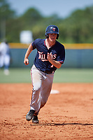 GCL Twins catcher Austin Hale (70) runs the bases during a game against the GCL Rays on August 9, 2018 at Charlotte Sports Park in Port Charlotte, Florida.  GCL Twins defeated GCL Rays 5-2.  (Mike Janes/Four Seam Images)