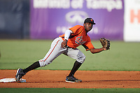 Second Baseman Ivan Johnson (11) of Kennesaw Mountain High School in Atlanta, Georgia playing for the Baltimore Orioles scout team during the East Coast Pro Showcase on August 3, 2016 at George M. Steinbrenner Field in Tampa, Florida.  (Mike Janes/Four Seam Images)