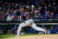 Cleveland Indians pitcher Mike Clevinger (52) delivers a pitch in the fifth inning during Game 5 of the Major League Baseball World Series against the Chicago Cubs on October 30, 2016 at Wrigley Field in Chicago, Illinois.  (Mike Janes/Four Seam Images)