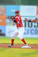 Batavia Muckdogs second baseman Avery Romero #13 during a game against the Mahoning Valley Scrappers on June 22, 2013 at Dwyer Stadium in Batavia, New York.  Batavia defeated Mahoning Valley 2-1 in ten innings.  (Mike Janes/Four Seam Images)