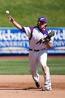 Jake Mahon (25) of the Evansville Purple Aces throws to first base during a game against the Indiana State Sycamores in the 2012 Missouri Valley Conference Championship Tournament at Hammons Field on May 23, 2012 in Springfield, Missouri. (David Welker/Four Seam Images)
