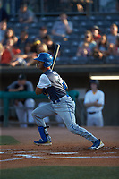MJ Melendez (7) of the Lexington Legends follows through on his swing against the West Virginia Power at Appalachian Power Park on June 7, 2018 in Charleston, West Virginia. The Power defeated the Legends 5-1. (Brian Westerholt/Four Seam Images)