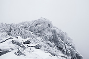 Mount Liberty in whiteout conditions in the White Mountains, New Hampshire during the winter months.
