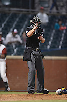 ***Temporary Unedited Reference File***Umpire Adam Beck during a game between the Montgomery Biscuits and Chattanooga Lookouts on May 2, 2016 at AT&T Field in Chattanooga, Tennessee.  Chattanooga defeated Montgomery 9-6.  (Mike Janes/Four Seam Images)