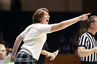 DURHAM, NC - JANUARY 16: Assistant coach Beth Cunningham of Notre Dame University during a game between Notre Dame and Duke at Cameron Indoor Stadium on January 16, 2020 in Durham, North Carolina.
