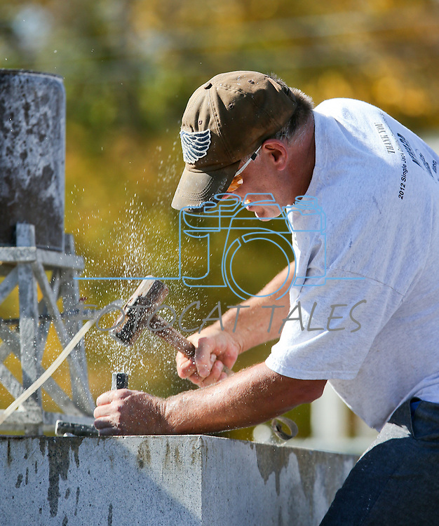Craig Lemons, of Reno, competes in the 39th annual World Championship Single-Jack Rock Drilling competition in Carson City, Nev., on Saturday, Oct. 26, 2013. The event is part of the annual Nevada Day events.<br /> Photo by Cathleen Allison