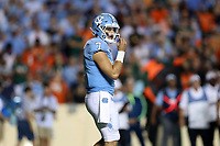CHAPEL HILL, NC - SEPTEMBER 07: Sam Howell #7 of the University of North Carolina during a game between University of Miami and University of North Carolina at Kenan Memorial Stadium on September 07, 2019 in Chapel Hill, North Carolina.