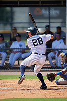 GCL Yankees East center fielder Ryder Green (28) at bat during a game against the GCL Blue Jays on August 2, 2018 at Yankee Complex in Tampa, Florida.  GCL Yankees East defeated GCL Blue Jays 5-4.  (Mike Janes/Four Seam Images)