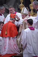 Bishop of Novara in Italy, Renato Corti,Pope Francis, during a consistory at Peter's basilica. Pope Francis has named 17 new cardinals, on November 19, 2016