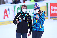 29th December 2020; Semmering, Austria; FIS Womens Giant Slalom World Cu Skiing;  Mikaela Shiffrin of USA presents the Medal of Kindness to Fritz Kremsl from WSV Semmering before her 1st run of women Slalom competition of FIS ski alpine world cup at the Panoramapiste in Semmering