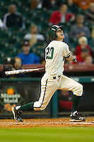 Jake Miller #20 of the Baylor Bears follows through on his swing against the Utah Utes at Minute Maid Park on March 5, 2011 in Houston, Texas.  Photo by Brian Westerholt / Four Seam Images